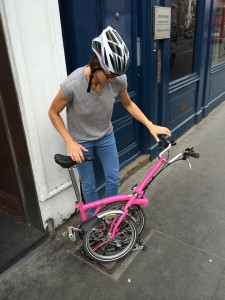 Sarah with the pink bike