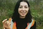 Jess Cole on site with slow worm